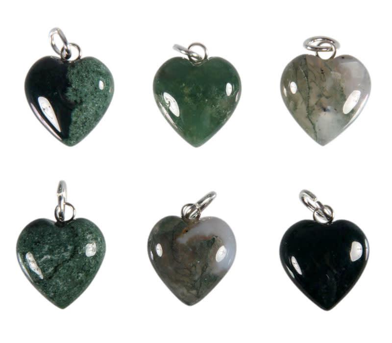 Mosagaat hanger hart 15 mm met zilveren oogje