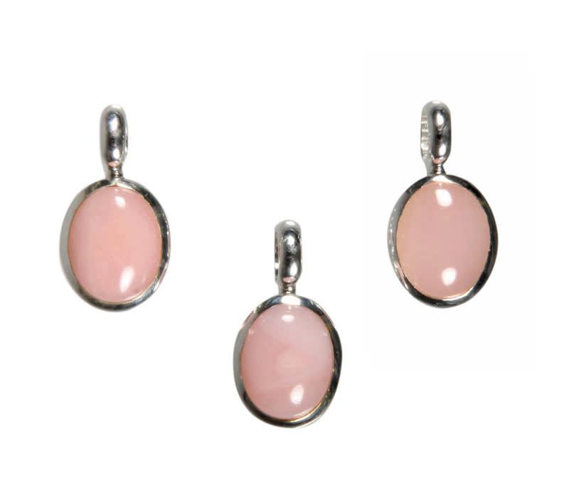 Zilveren hanger opaal (Andes) roze | ovaal 10 x 8 mm