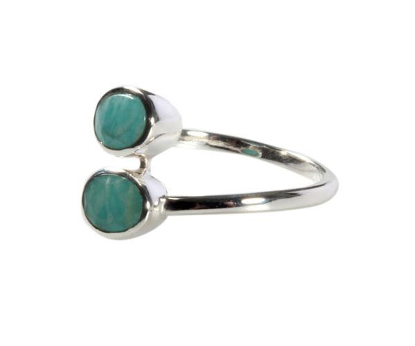 Zilveren ring amazoniet maat 17 | 2 ovalen