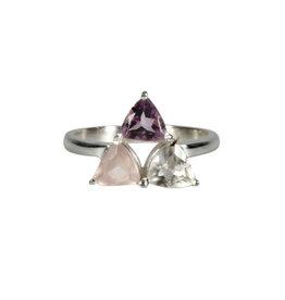 Zilveren ring gouden driehoek of harmonie maat 17 1/2
