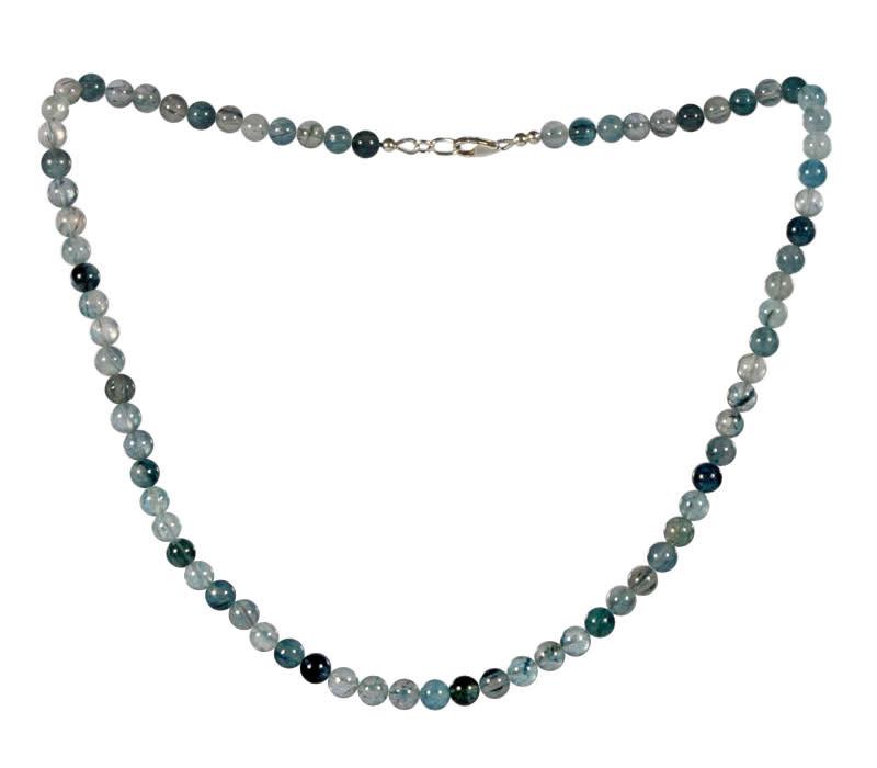Indigoliet (blauwe toermalijn) in kwarts ketting 6 mm kralen