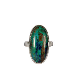 Zilveren ring azuriet-malachiet maat 17 1/2 | ovaal 2,5 x 1,2 cm