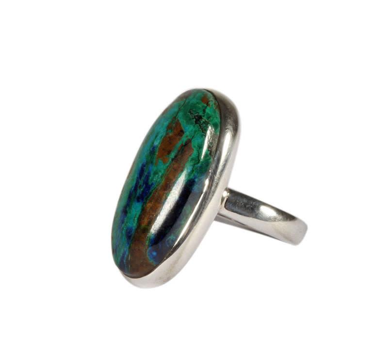 Zilveren ring azuriet-malachiet maat 17 1/2   ovaal 2,5 x 1,2 cm