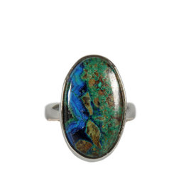 Zilveren ring azuriet-malachiet maat 17 | ovaal 2,1 x 1,2 cm