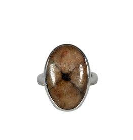 Zilveren ring chiastoliet of kruissteen maat 18 | ovaal 2 x 1,3 cm