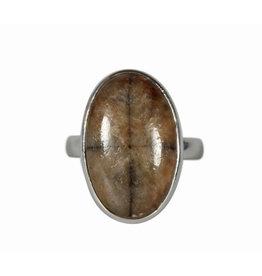 Zilveren ring chiastoliet of kruissteen maat 19 | ovaal 2,1 x 1,3 cm
