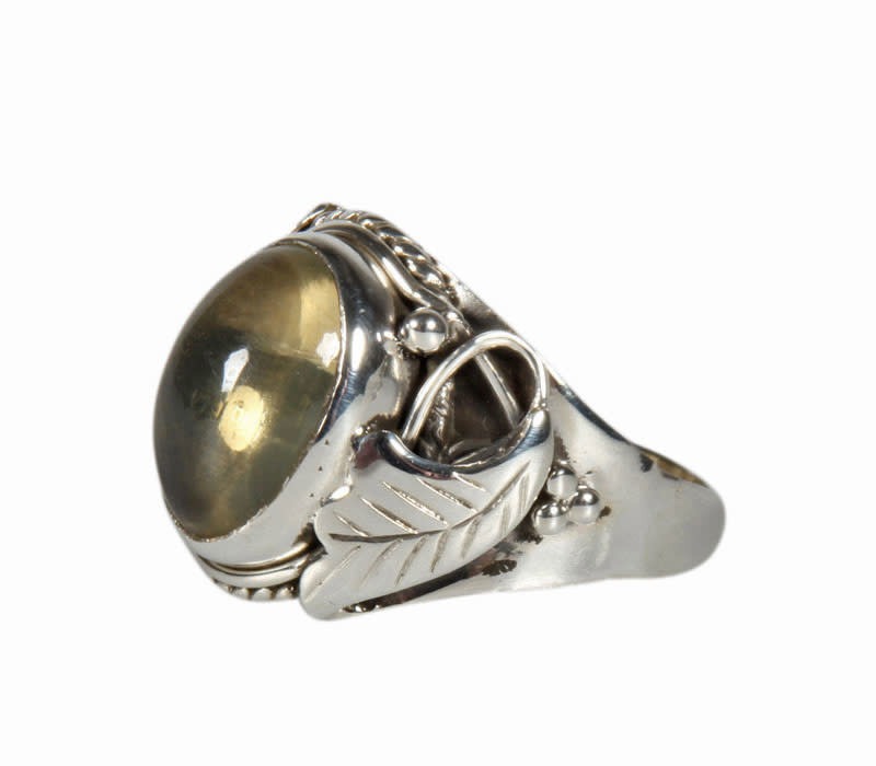 Zilveren ring citrien (natuurlijk) maat 19 1/2 | ovaal 1,3 x 0,9 cm