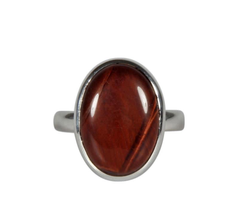 Zilveren ring tijgeroog (rood) maat 19 1/2 | ovaal 1,8 x 1,2 cm