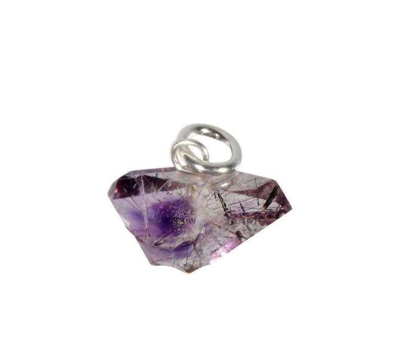 Amethist Herkimer diamant met rutiel hanger met zilveren oogje