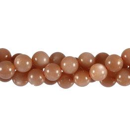 Zonnesteen kralen (effen) rond 8 mm (streng van 40 cm)