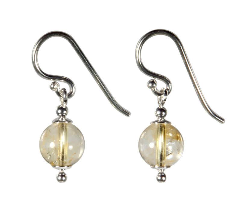 Zilveren oorbellen citrien (natuurlijk) rond 8 mm