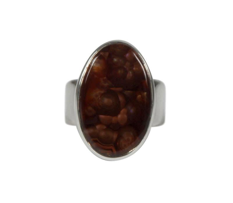 Zilveren ring agaat (vuur) maat 19 | ovaal 2,2 x 1,4 cm