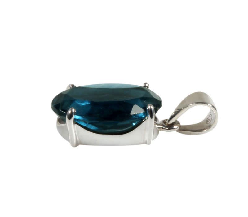 Zilveren hanger fluoriet (blauw) | facet gezet 2,2 x 1,5 cm