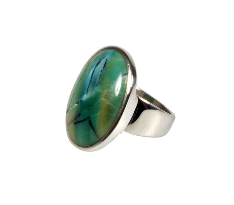 Zilveren ring opaal (Indonesisch) maat 17 | ovaal 2,3 x 1,7 cm