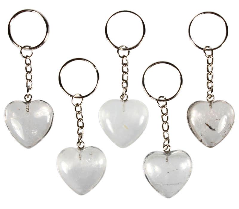 Bergkristal sleutelhanger hart