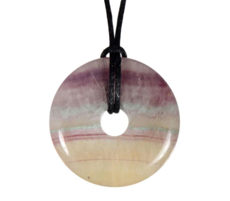 Fluoriet (regenboog) hanger donut 3 cm