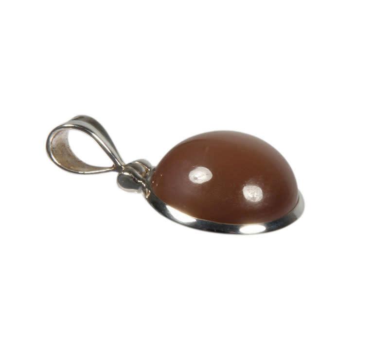 Zilveren hanger maansteen (bruin) | rond 1,9 cm