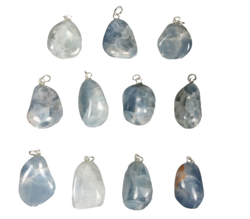 Calciet (blauw) hanger met zilveren oogje