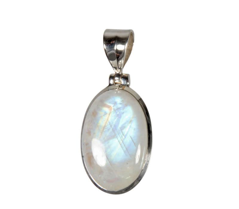 Zilveren hanger maansteen (regenboog) A-kwaliteit | 2,6 x 1,7 cm