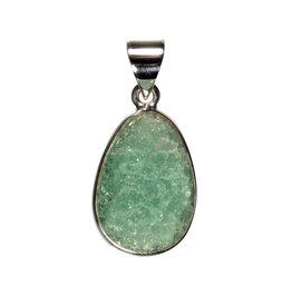 Zilveren hanger fluoriet (groen) | ruw druppel 2 x 1,3 cm