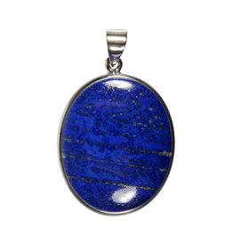 Zilveren hanger lapis lazuli   ovaal 3,3 x 2,7 cm