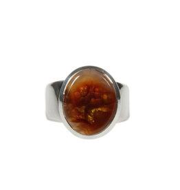 Zilveren ring agaat (vuur) maat 18 | ovaal 1,5 x 1,2 cm