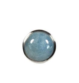 Zilveren ring aquamarijn maat 17 1/2 | rond 1,5 cm