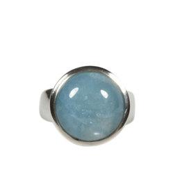 Zilveren ring aquamarijn maat 17 1/2 | rond 1,4 cm