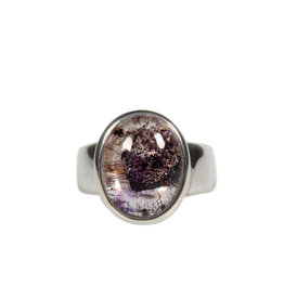 Zilveren ring super seven maat 18 | ovaal 1,4 x 1,1 cm