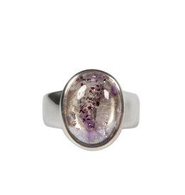 Zilveren ring super seven maat 18 | ovaal 1,5 x 1,1 cm