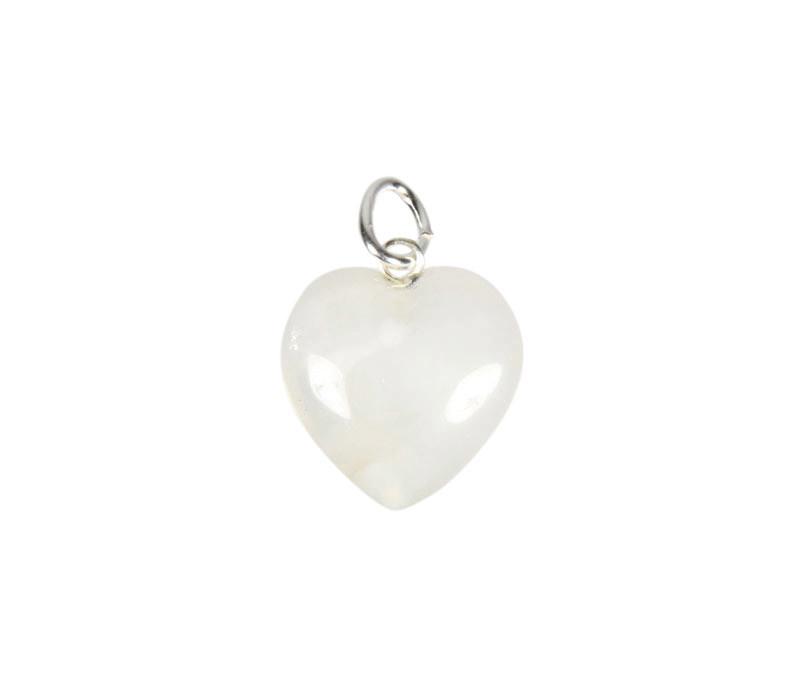 Azeztuliet hanger hart 15 mm met zilveren oogje
