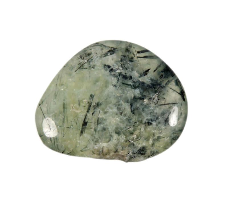 Prehniet met toermalijn steen plat gepolijst
