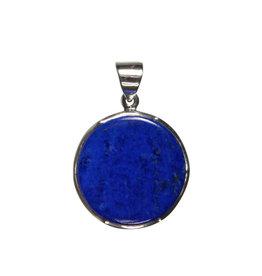 Zilveren hanger lapis lazuli   rond 2,4 cm