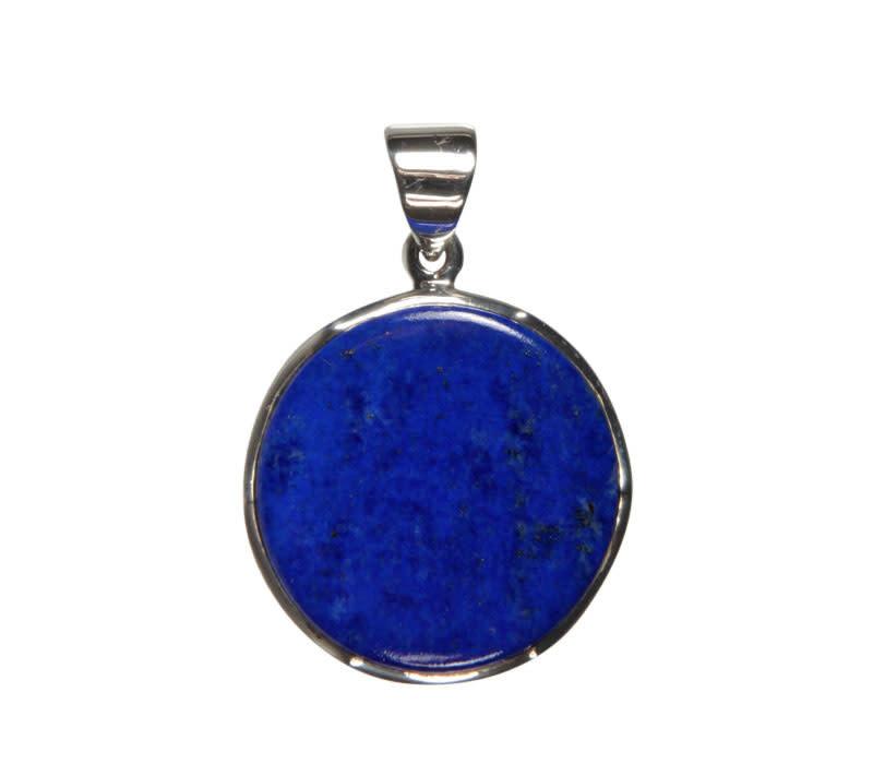 Zilveren hanger lapis lazuli | rond 2,4 cm