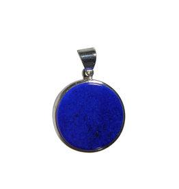 Zilveren hanger lapis lazuli   rond 2,2 cm