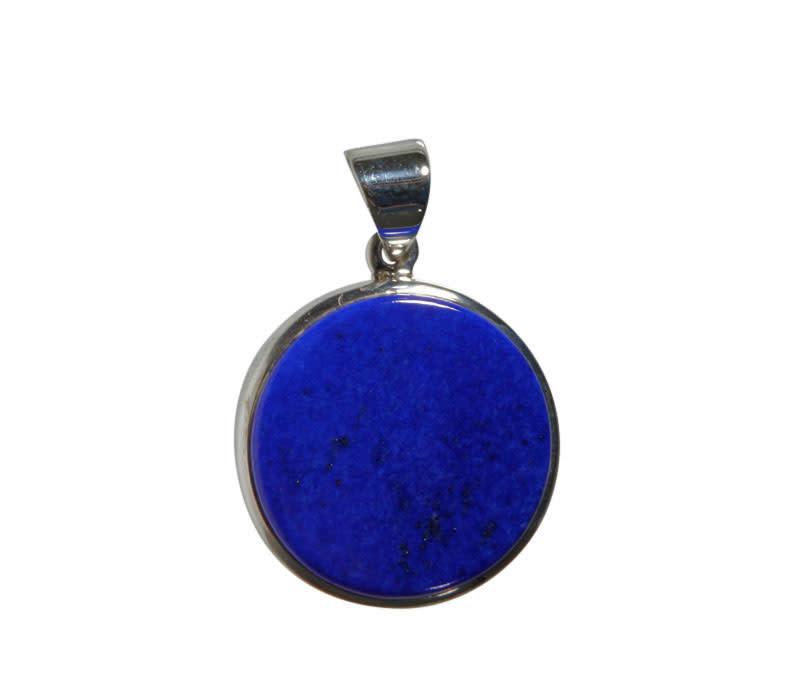 Zilveren hanger lapis lazuli | rond 2,2 cm