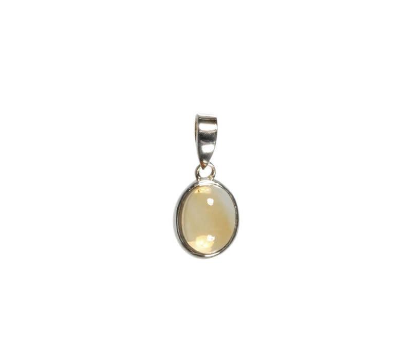 Zilveren hanger citrien   kleine ovaal 9 x 7 mm