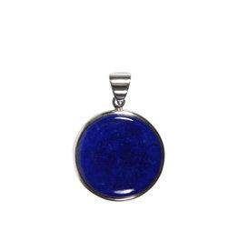 Zilveren hanger lapis lazuli   rond 2,3 cm