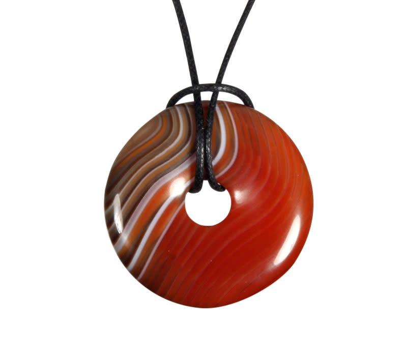Agaat (rood) hanger donut 3 cm
