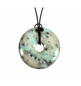 Amazoniet met toermalijn in kwarts hanger donut 4 cm