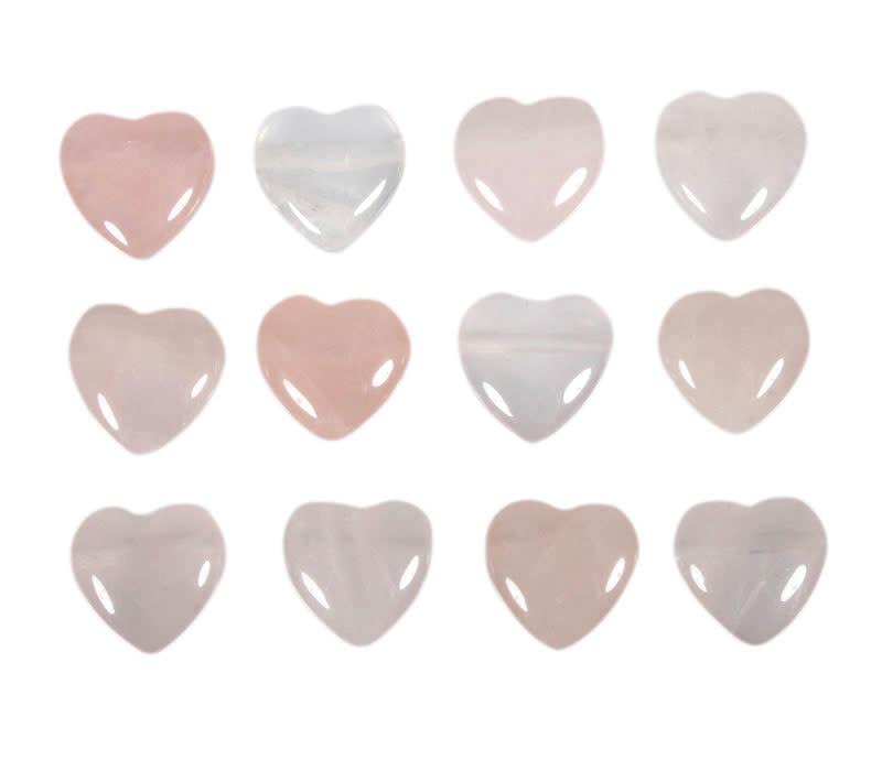 Rozenkwarts hanger hart klein doorboord