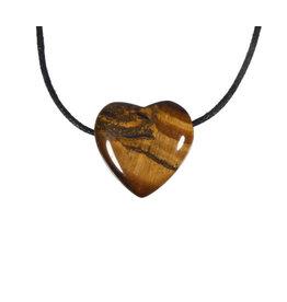 Tijgeroog hanger hart klein doorboord