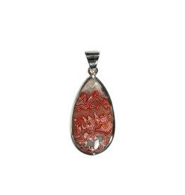 Zilveren hanger agaat (kant) | druppel 2,9 x 1,5 cm