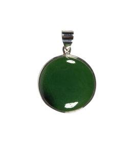 Zilveren hanger jade   rond 2,9 cm