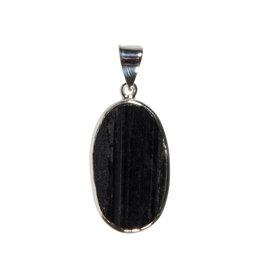 Zilveren hanger toermalijn (zwart)   ruw ovaal 2,8 x 1,6 cm