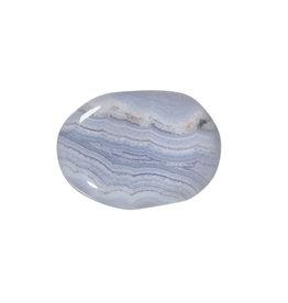 Chalcedoon (blauw) steen plat gepolijst