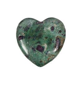 Robijn in fuchsiet edelsteen hart 4 cm