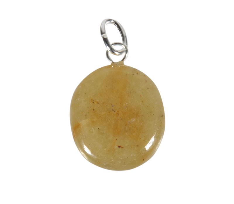 Saffier (geel) hanger met zilveren oogje