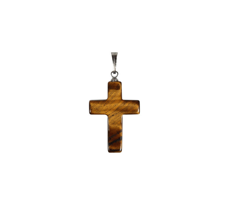Tijgeroog hanger kruisje