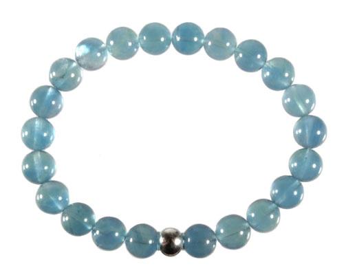 Fluoriet (blauw) armband 8 mm kralen 20 cm